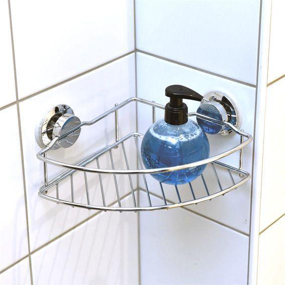 Etag re d 39 angle sur ventouse chrome accessoire salle de bain eminza - Etageres d angle salle de bain ...