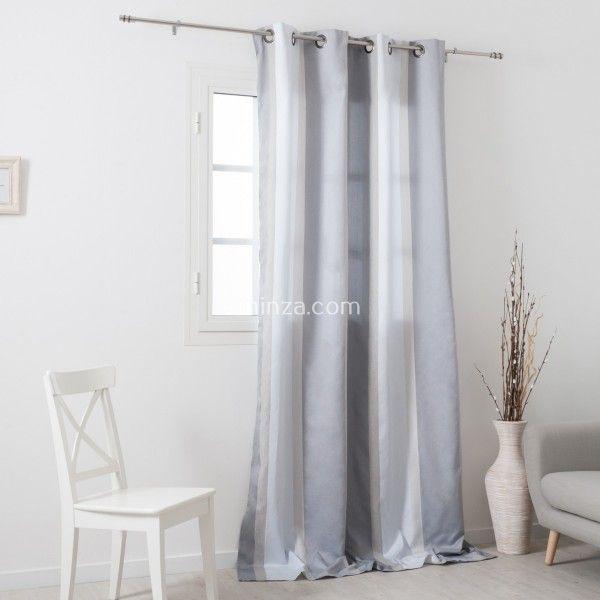 rideau tamisant 145 x 260 cm orsey blanc et gris rideau voilage store eminza. Black Bedroom Furniture Sets. Home Design Ideas