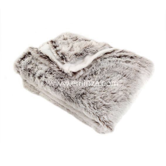 Plaid fausse fourrure Ours Taupe