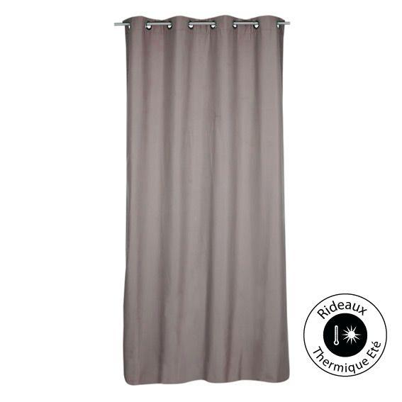 rideau a oeillets thermique ete h240cm fresh taupe. Black Bedroom Furniture Sets. Home Design Ideas