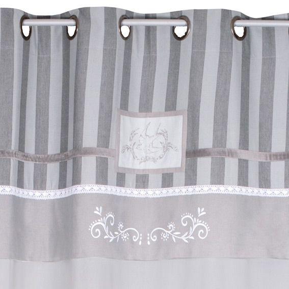 Rideau 140 x h250 cm chic gris rideau voilage Rideau boheme
