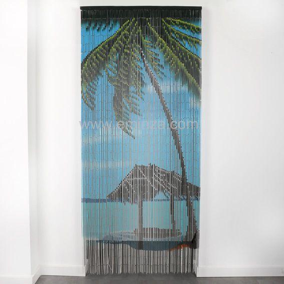 Rideau de porte (90 x H200 cm) Bambou Palmier - Rideau / Voilage ...