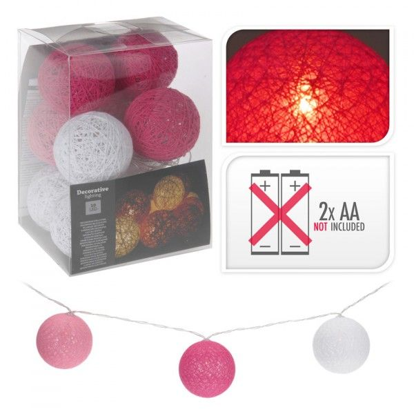 guirlande lumineuse boule raffia blanc et rose 10 led luminaire eminza. Black Bedroom Furniture Sets. Home Design Ideas