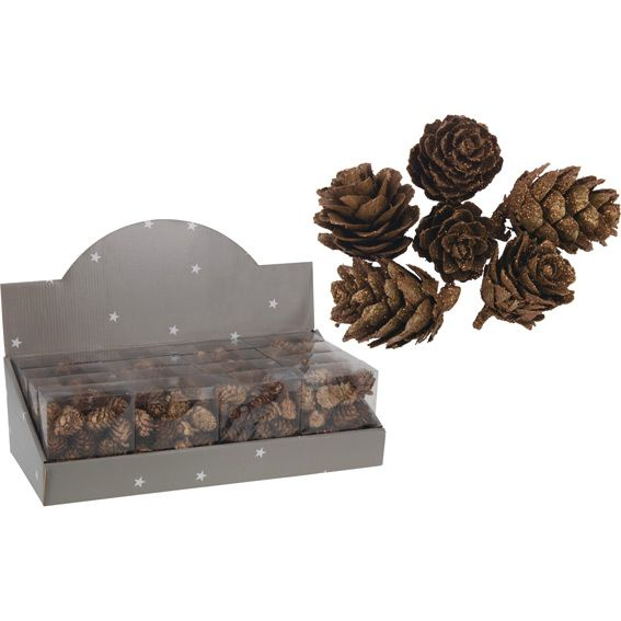 Lot de 24 pommes de pin Naturel Chocolat