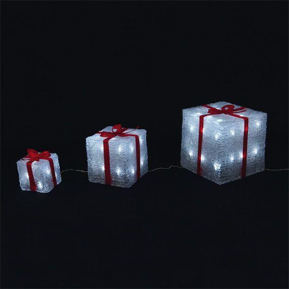 Les 3 cadeaux lumineux 60 LED Blanc froid