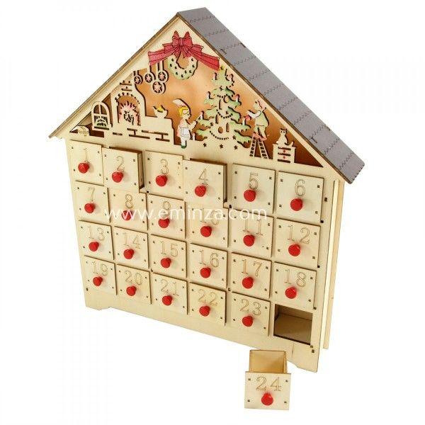 calendrier de l 39 avent lumineux chalet calendrier de l. Black Bedroom Furniture Sets. Home Design Ideas