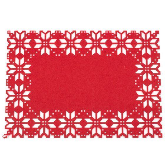 Set De Table Flocon Rouge Decoration De Table Eminza