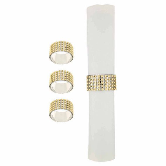 Lot de 4 ronds de serviette Strass Or