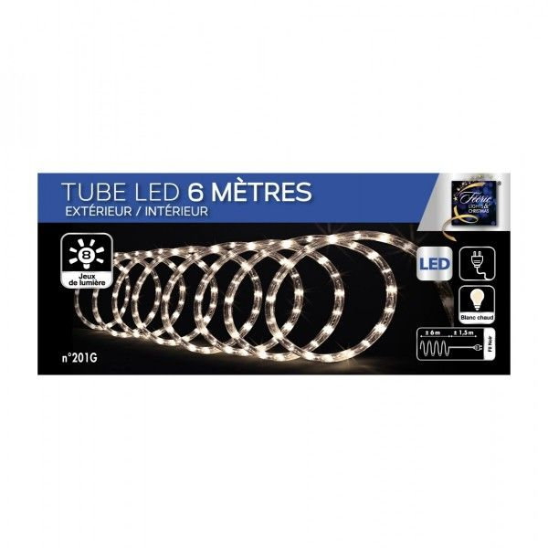 tube lumineux 6 m blanc chaud 108 led guirlande lumineuse pour sapin et maison eminza. Black Bedroom Furniture Sets. Home Design Ideas