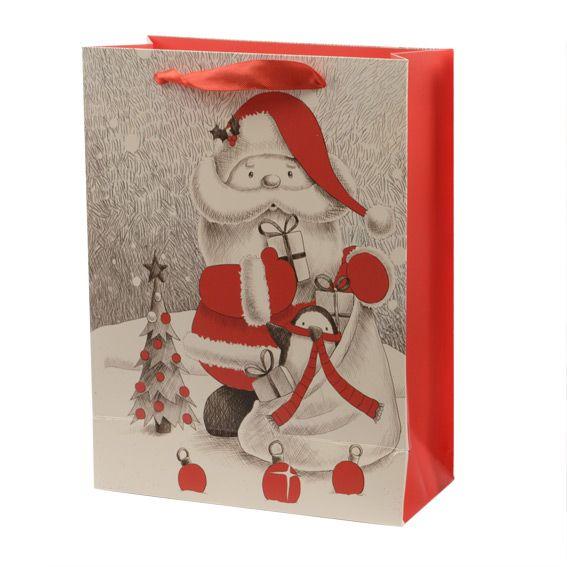 sac cadeau h32 cm papa no l rouge sac et emballage cadeaux eminza. Black Bedroom Furniture Sets. Home Design Ideas