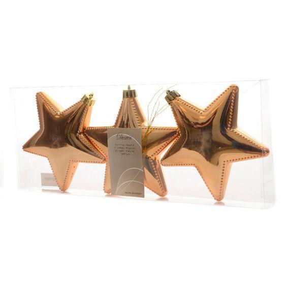Lot de 3 Etoiles de No�l Chamonix Cuivre