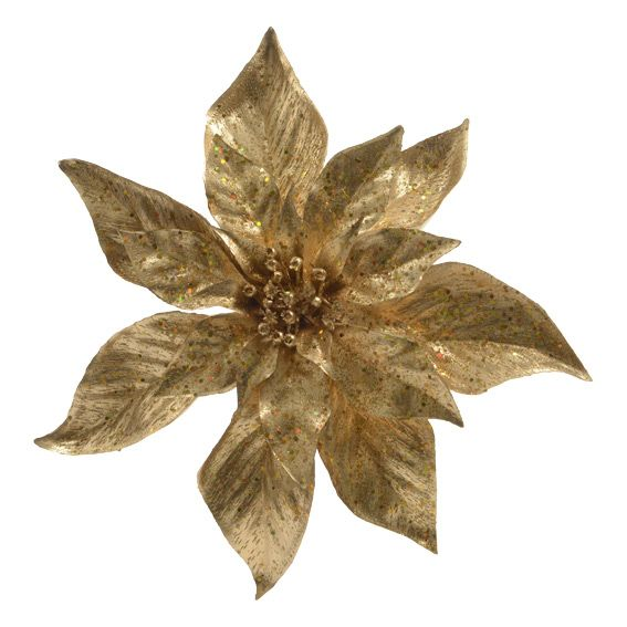 Fiore Di Natale Poinsettia A Clips Oro