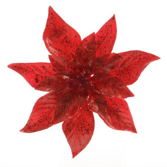 fleur de no l sur clip poinsettia rouge fleur suspension et branche d 39 hiver eminza. Black Bedroom Furniture Sets. Home Design Ideas