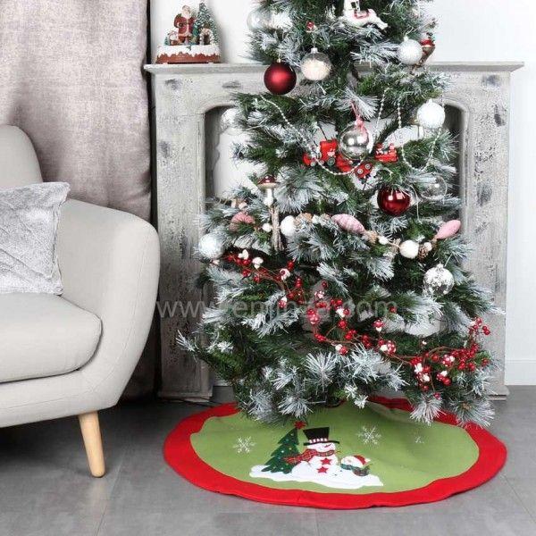 tapis de sapin rond teddy bonhomme de neige accessoire. Black Bedroom Furniture Sets. Home Design Ideas