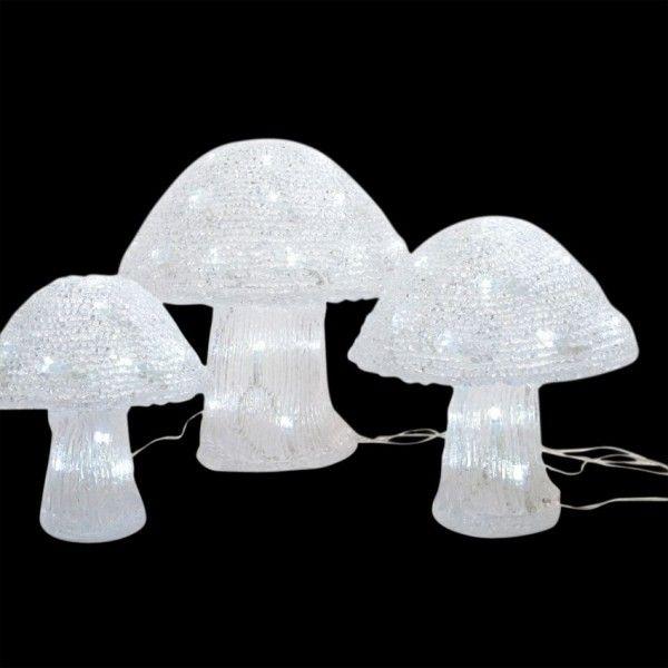 En//Extérieur 48 DEL acrylique 3pc rouge//blanc champignons lumineux de Noël Décoration