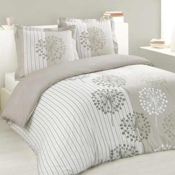 Housse de couette et deux taies 260 cm anna taupe linge de lit eminza for Housse de couette tendance