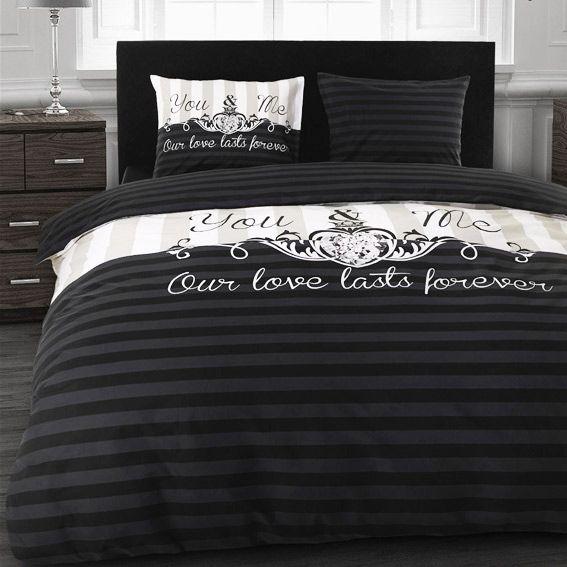 great housse de couette et deux taies cm forever black with housse de couette chic. Black Bedroom Furniture Sets. Home Design Ideas
