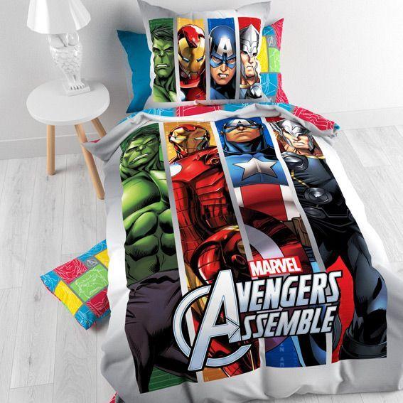 Housse De Couette Et Une Taie 140 Cm Marvel Avengers Team Linge