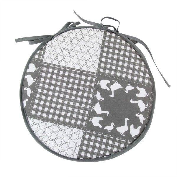 galette de chaise ronde campagne gris d co textile eminza. Black Bedroom Furniture Sets. Home Design Ideas