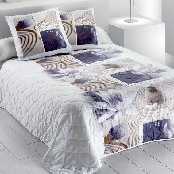 couvre lit 220 x 240 cm zen lotus. Black Bedroom Furniture Sets. Home Design Ideas