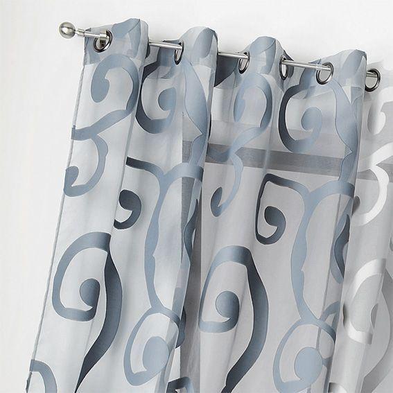 voilage 140 x h265 cm arabesque bleu rideau voilage store eminza. Black Bedroom Furniture Sets. Home Design Ideas