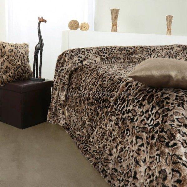 Couvre lit 150 x 200 cm imitation fourrure l opard - Housse de couette fourrure ...