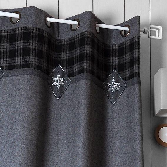 rideaux style montagne gris eminza. Black Bedroom Furniture Sets. Home Design Ideas