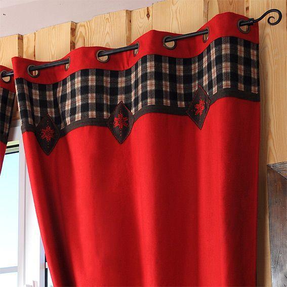 rideaux style montagne rouge eminza. Black Bedroom Furniture Sets. Home Design Ideas
