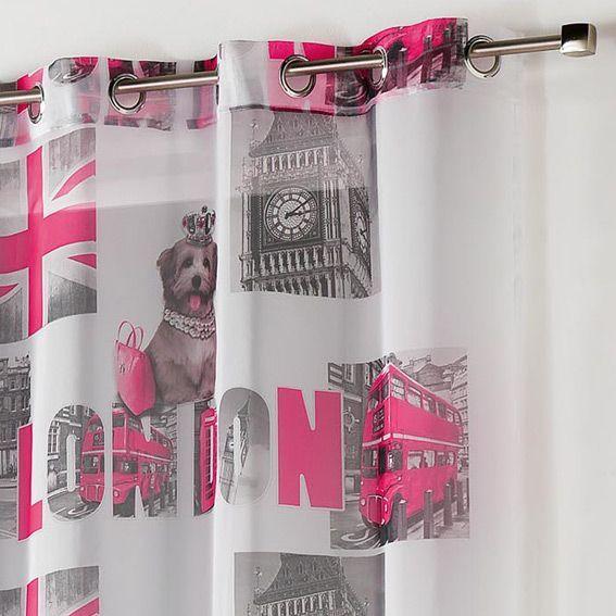 Decoration Londres Rose : Voilage h cm london girl eminza