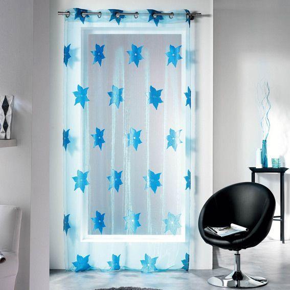 Voilage (140 x H240 cm) Organza Ilia Bleu
