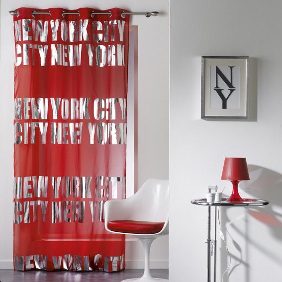 Voilage (140 x H260 cm) NY Silver Rouge - Rideau / Voilage / Store ...