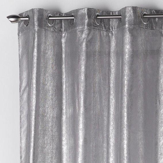 Voilage 140 X H240 Cm Steel Perle Rideau Voilage Store Eminza