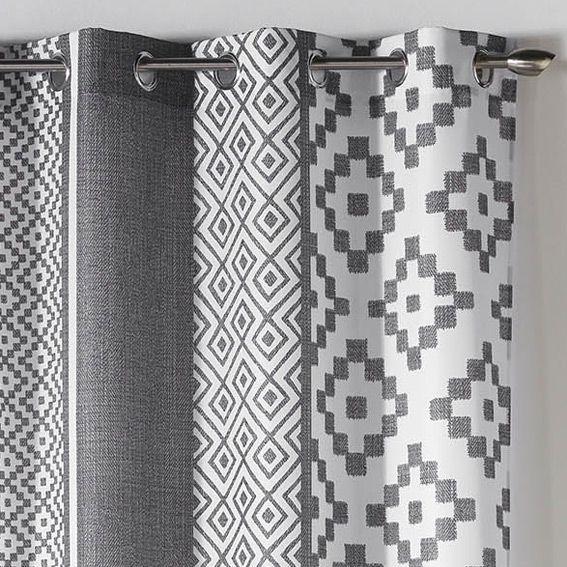 Rideau 140 x h260 cm esteban gris rideau tamisant eminza for Petit rideau gris
