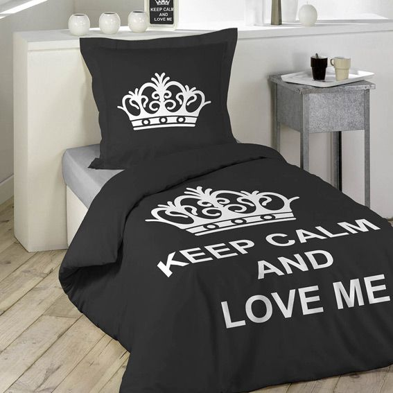 housse de couette et une taie 140 cm keep calm eminza. Black Bedroom Furniture Sets. Home Design Ideas