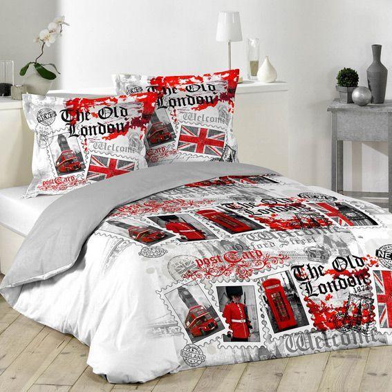 housse de couette et deux taies 240 cm london vintage. Black Bedroom Furniture Sets. Home Design Ideas