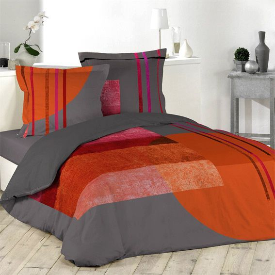 linge de lit orange eminza. Black Bedroom Furniture Sets. Home Design Ideas