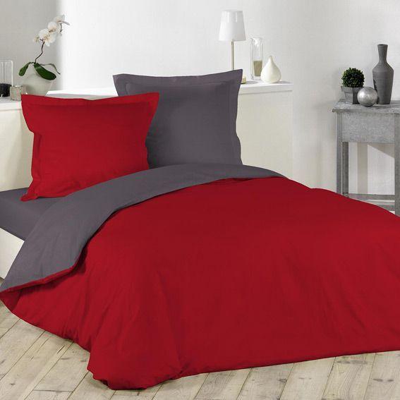 Housse de couette et deux taies 240 cm bicolore - Housse de couette grise et rouge ...