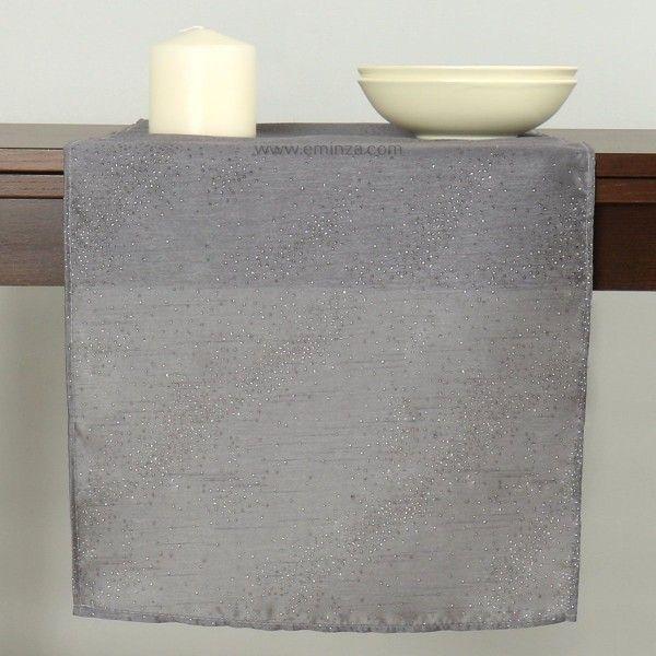 Chemin de table l140 cm shantung gris linge de table - Chemin de table gris anthracite ...