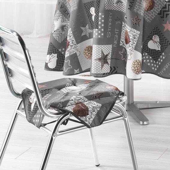 galette de chaise carr e starly gris d co textile eminza. Black Bedroom Furniture Sets. Home Design Ideas