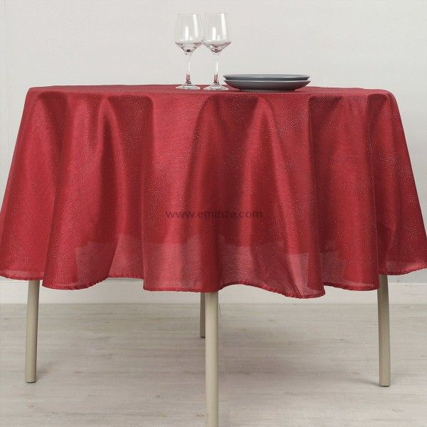 nappe ronde d180 cm shantung rouge linge de table eminza. Black Bedroom Furniture Sets. Home Design Ideas