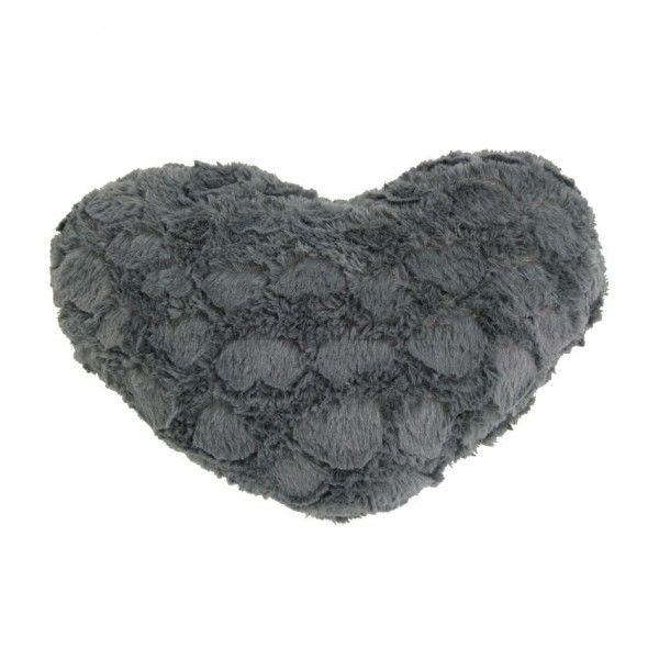 coussin imitation fourrure c ur gris coussin et housse de coussin eminza. Black Bedroom Furniture Sets. Home Design Ideas