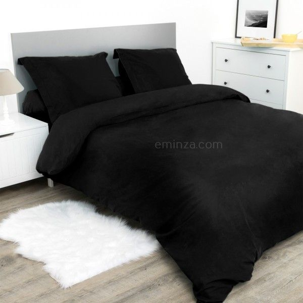 drap housse coton sup rieur 160 cm confort noir linge de lit eminza. Black Bedroom Furniture Sets. Home Design Ideas