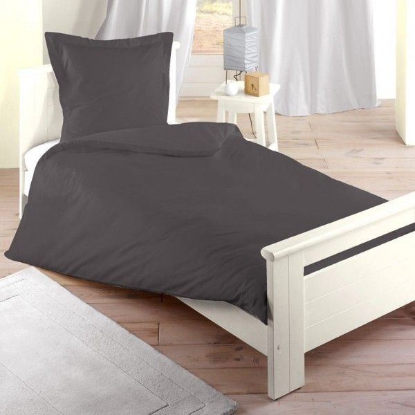housse de couette 140 cm confort anthracite housse de couette eminza. Black Bedroom Furniture Sets. Home Design Ideas