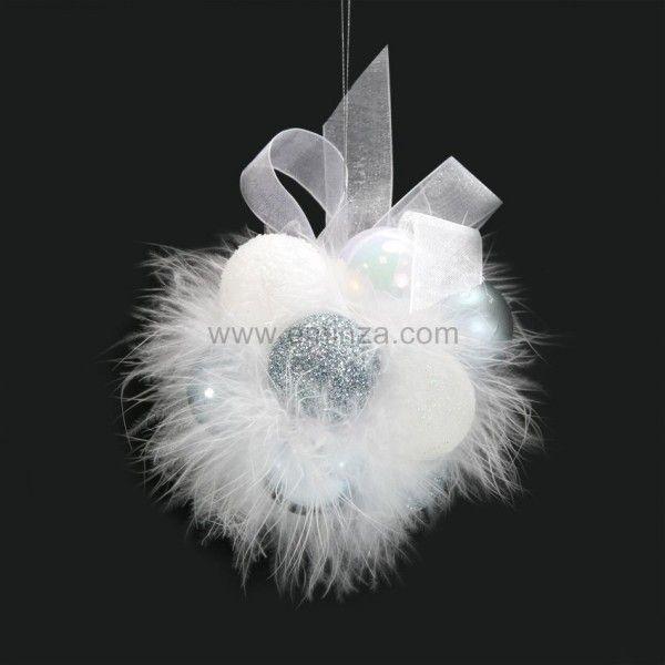 suspension de boules de no l flora blanc bleu ciel boule de no l eminza. Black Bedroom Furniture Sets. Home Design Ideas