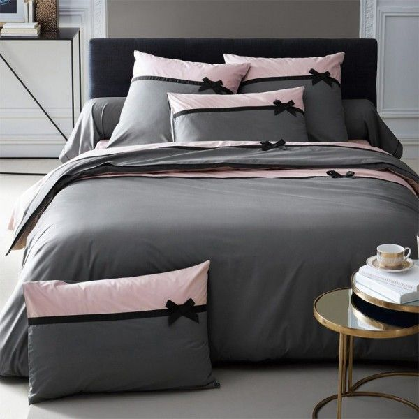 housse de couette et deux taies 260 cm frou frou anthracite housse de couette eminza. Black Bedroom Furniture Sets. Home Design Ideas