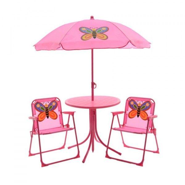salon de jardin pour enfant papillon rose mobilier pour enfant eminza. Black Bedroom Furniture Sets. Home Design Ideas
