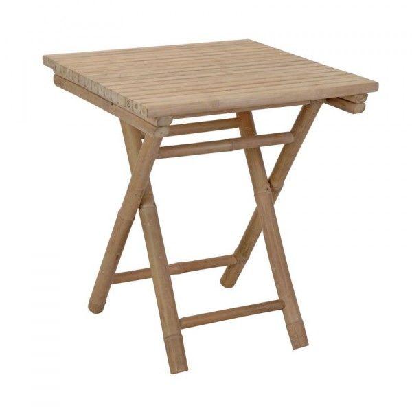 Table d 39 appoint pliante bambou carr e petit mobilier de - Table d appoint carree ...