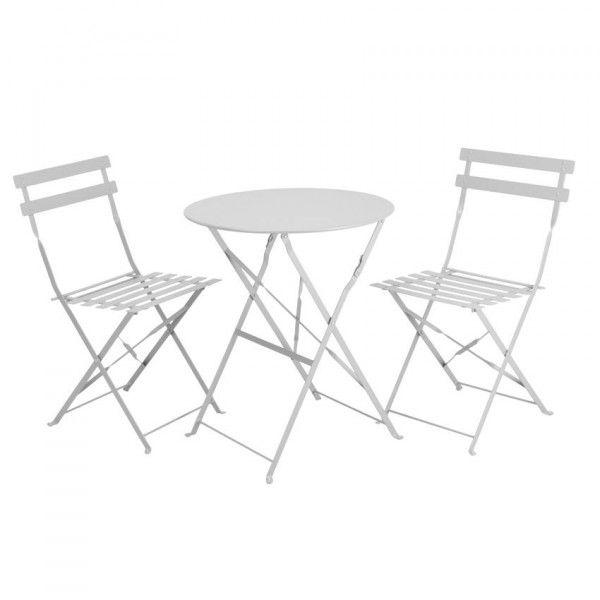 Salon de jardin Bistrot Blanc - 3 pièces