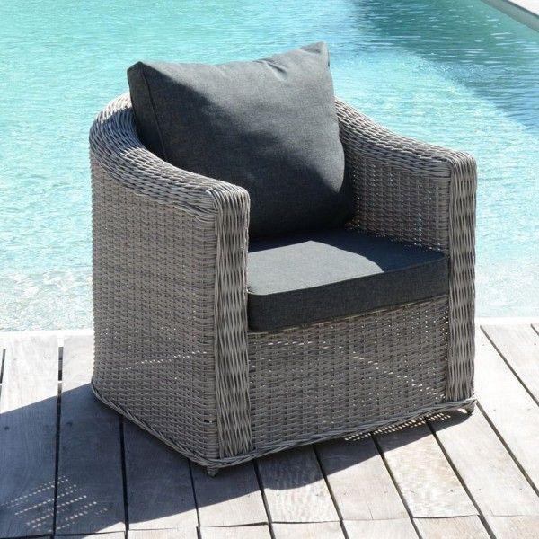 Fauteuil de jardin giglio gris gris anthracite salon de jardin table et chaise eminza - Chaise de jardin gris anthracite ...
