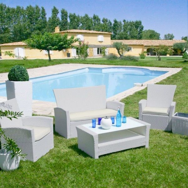 Salon de jardin Ibiza Ecru/Perle - 4 places - Salon de jardin, table ...